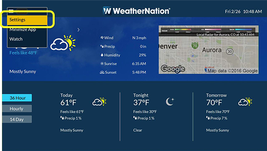 Settings button in Weather Nation app