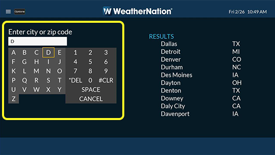 On-screen keyboard in Weather Nation app to enter city or zip code