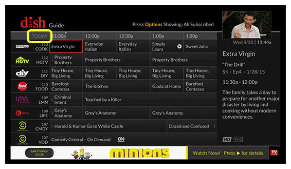 DISH on-screen channel guide