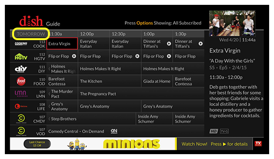 DISH on-screen channel guide for the following day