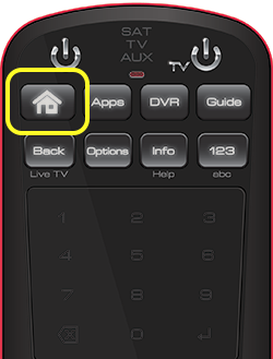 Home button on 50.0 remote (first button in the top row of four buttons.)