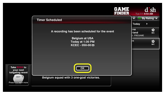 OK button on the Timer Scheduled pop-up