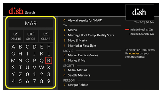 On-screen keyboard for text entry on the left side of the screen, with a list of results on the ride side (Use the remote control to move up, down, left, and right to select letters on the on-screen keyboard.)