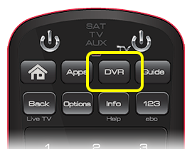 DVR button on 50.0 remote (third button in the top row of four buttons)