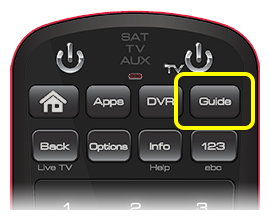 Guide button on 50.0 remote (fourth button in the top row of four buttons.)