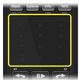 Touch pad on 50.0 remote (The Touch Pad is the flat square below the top two rows of buttons.)