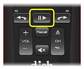 Play button on 50.0 remote (middle indented button in row below the flat touch pad)