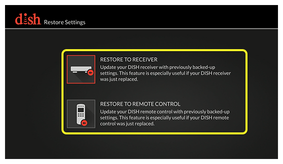 list of restore settings (use the remote to move up and down through the list of options)