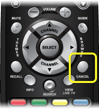 Cancel button on the 40.0 remote (Cancel button is the 4th button from the top on the right side of the remote)