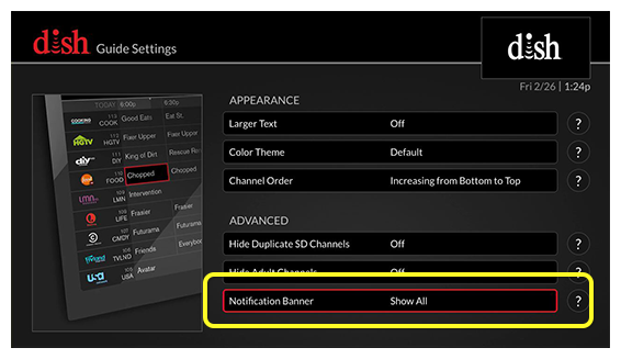 list of guide settings (Use the remote control to move up and down through the list of options.)