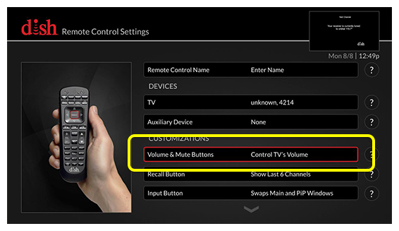 list of remote control settings (Use the remote control to move up and down through the list of options.)