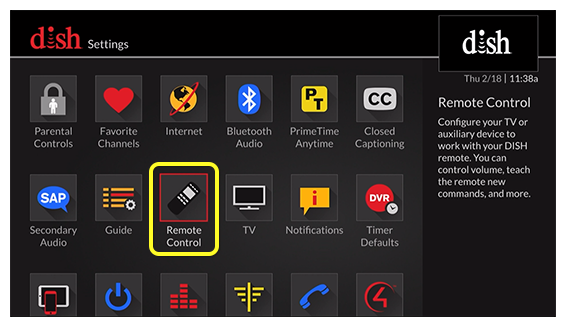 Remote Control menu option (use the remote to move through the grid of menu options)