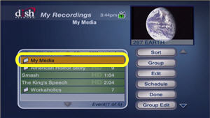 My Media option in the DVR menu