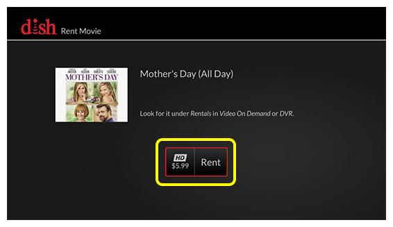 rent movie screen with rent button (click select on your remote)