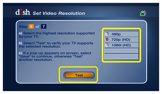 System setup screen with list of resolution choices