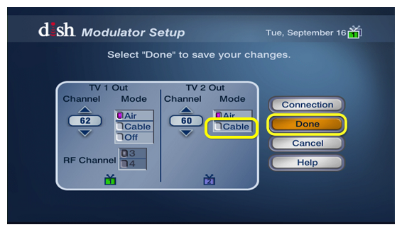 TV 2 out mode options