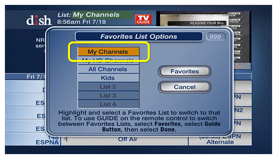 My Channels option