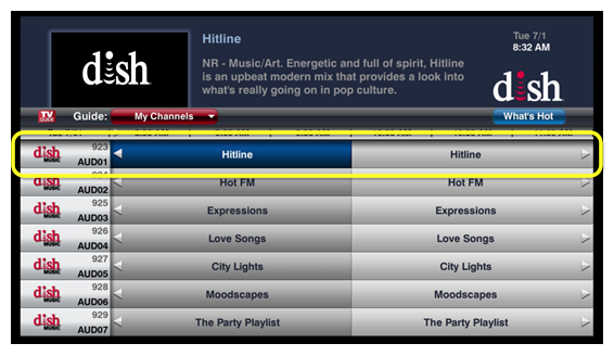 DISH Music channels on screen