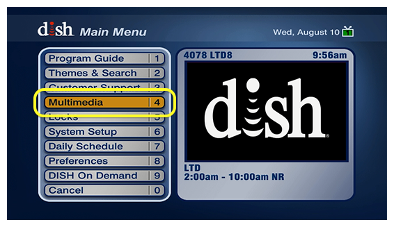 Multimedia in the DISH menu - option #4
