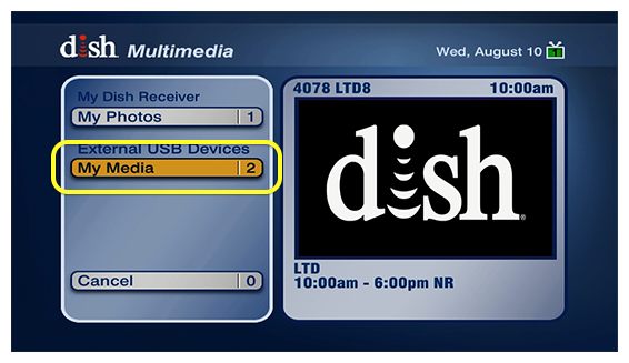 My Media in the DISH menu - option #2