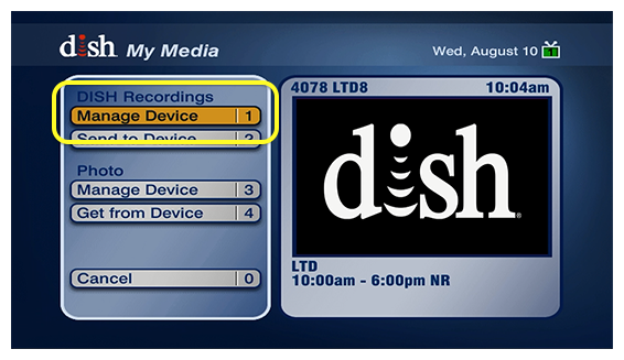 Manage Device in the DISH menu - option #1