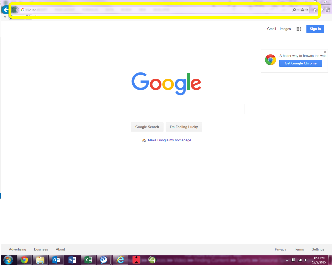 internet browser showing modem I.P. address in address bar