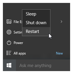 restart option in Windows 10 start menu