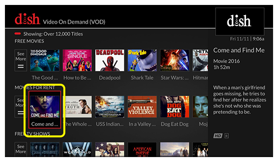 grid of video on demand programs (use the remote to move through the grid of menu options)