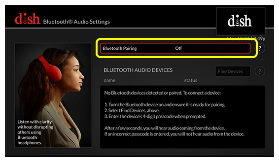 Bluetooth Pairing option (use the remote to move up and down the list of menu options)