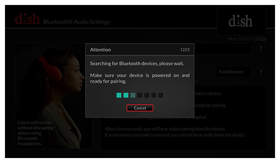 Pop-up: searching for Bluetooth devices