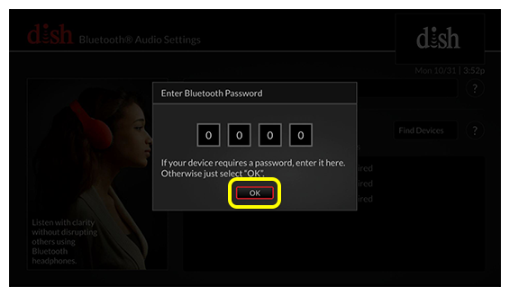 OK button on Password entry field