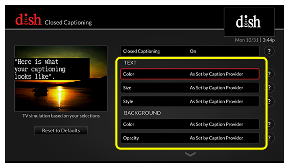 Closed Captioning preferences including color, size, and style (use the remote to move up and down through the list of options)