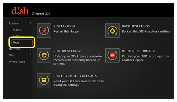 Receiver diagnostics menu (use the remote to move up and down the list of menu options)