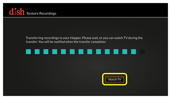 Progress bar showing status of recording transfer, with Watch TV button