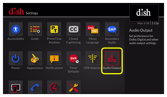 grid of settings options (Use the remote control to move through the grid of menu options.)