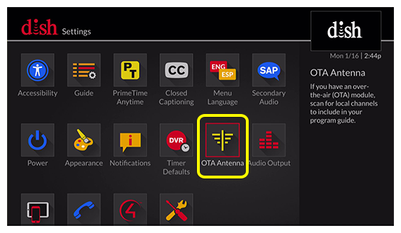 Antenna menu on screen (use the remote to move through the grid of menu options)