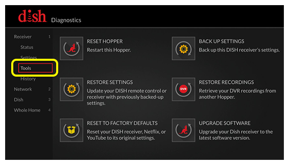 grid of diagnostic tools (use the remote to move up and down the list of menu options.)