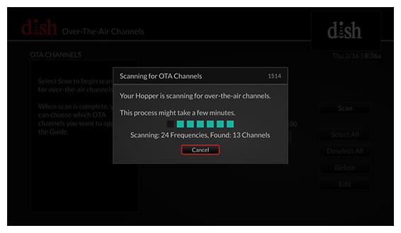 Scanning for Over the Air Channels pop-up with status bar