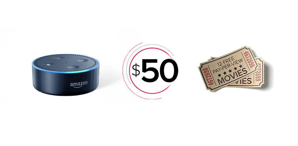 Rewards for referring friends to DISH include an Amazon Echo Dot, $50 in bill credits, and Pay-Per-View certificates
