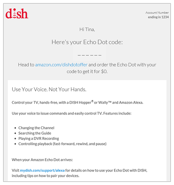Sample email from DISH with a promotional code for a free Amazon Echo Dot