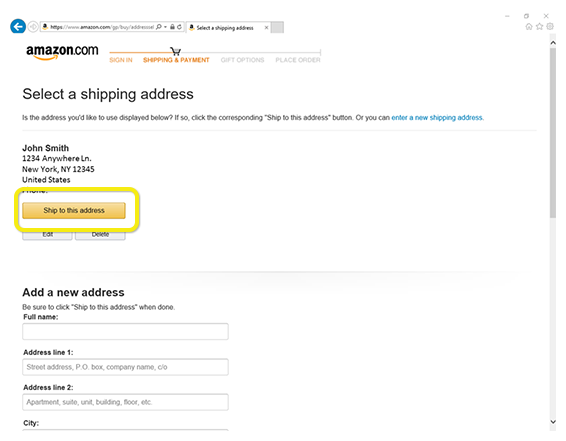 Shipping information entry on Amazon.com