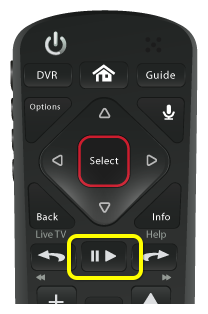 Play button in center of 54.0 DISH Voice Remote