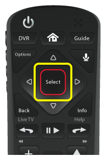 Select button on 54.0 remote (rounded-square button in the middle of a flat diamond-shaped pad near the top of the remote)
