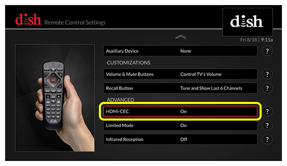 Enable HDMI-CEC Functionality | MyDISH | DISH Customer Support