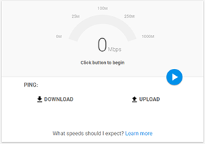 screenshot of speed test website