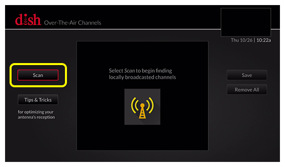 Over-the-Air antenna setup screen with button to Scan - use the arrow buttons on the remote to move between selections