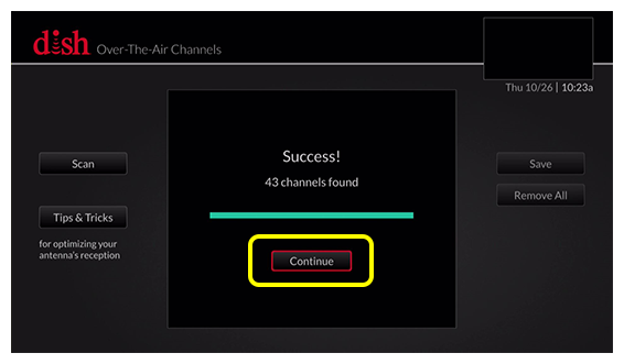 Over-the-Air antenna setup screen showing Success message and button to Continue - use the arrow buttons on the remote to move between selections