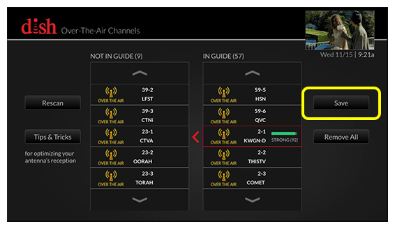 Over-the-Air antenna setup screen showing lists of what OTA channels should and should not appear in your guide - use the arrow buttons on the remote to move between selections