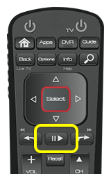 Play button on 52.0 remote (middle raised button in row below the select and arrow pad)