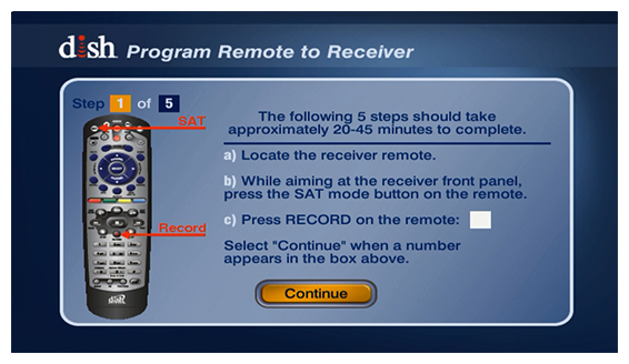 program remote to receiver with on-screen instructions